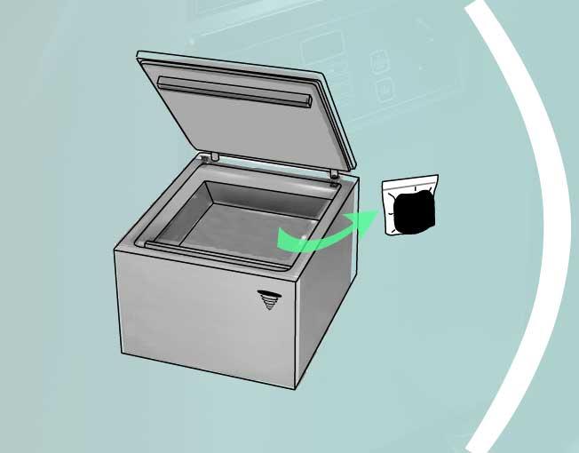 Вытащить продукт из вакуумного упаковщика